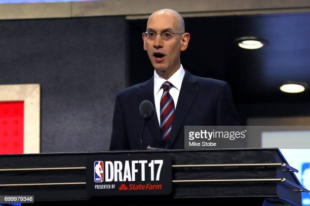 NBA commissioner Adam Silver speaks during the first round of the 2017 NBA Draft at Barclays Center on June 22 2017 in New York City NOTE TO USER...