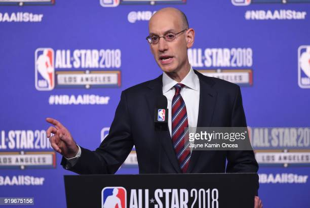 Commissioner Adam Silver speaks onstage during the AllStar Press Conference at Staples Center on February 17 2018 in Los Angeles California