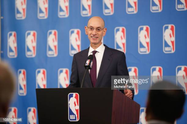 Commissioner Adam Silver speaks to the media after the Board of Governors meetings on September 21 2018 at the St Regis Hotel in New York City NOTE...