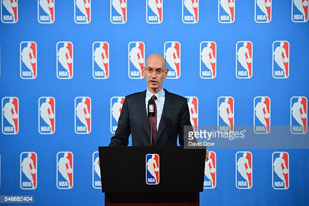 Commissioner Adam Silver speaks to the media after the Board of Governors meetings on July 12 2016 at the Encore Hotel in Las Vegas Nevada NOTE TO...