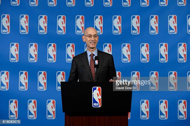 Commissioner Adam Silver speaks to the media after the Board of Governors meetings on October 21 2016 at the St Regis Hotel in New York City NOTE TO...