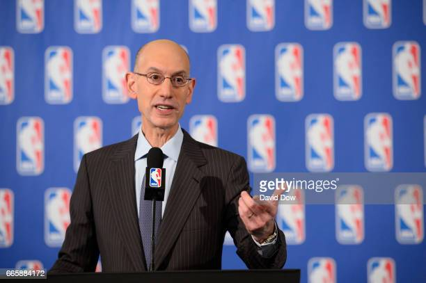 Commissioner Adam Silver speaks to the media after the Board of Governors meetings on April 7 2017 at the St Regis Hotel in New York City NOTE TO...