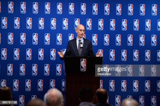 Commissioner Adam Silver speaks to the media after the Board of Governors meetings on July 10 2018 at The Encore Casino and Hotel in Las Vegas Nevada...