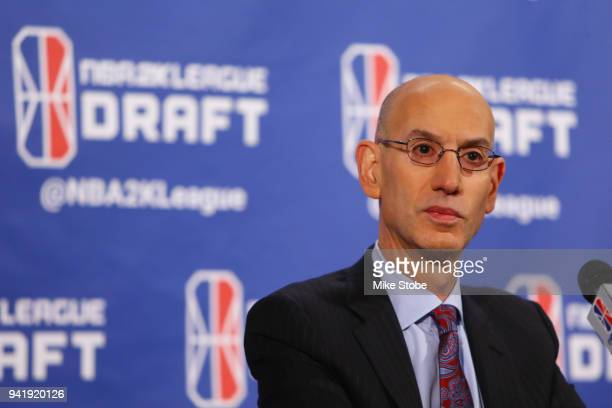 Commissioner Adam Silver speaks to the media prior to the start of the NBA 2K League Draft at Madison Square Garden on April 4 2018 in New York City