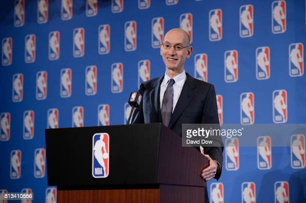 Commissioner Adam Silver speaks to the media to discuss the Board of Governors meetings on July 12 2017 at the Wynn Hotel in Las Vegas Nevada NOTE TO...