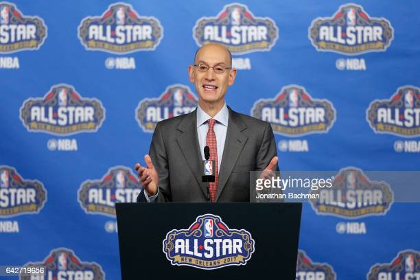 Commissioner Adam Silver speaks with the media during a press conference at Smoothie King Center on February 18 2017 in New Orleans Louisiana NOTE TO...