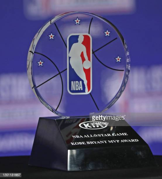Commissioner, Adam Silver unveils the new NBA All Star Kobe Bryant MVP Award at a press conference during NBA All-Star Saturday Night Presented by...