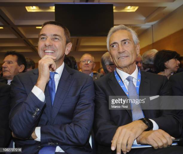 Commissioner Alessandro Costacurta and Gabriele Gravina attend the Italian Football Federation elective assembly on October 22 2018 in Rome Italy