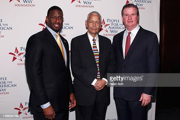 Commissioner Andrew Gillum Julian Bond and Michael Keegan attend the People For The American Way Foundation's celebratoin of Norman Lear's 90th...