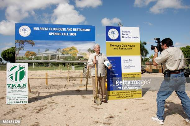 Commissioner Angel Gonzalez posing for a photo at the groundbreaking ceremony for Melreese Clubhouse and Restaurant