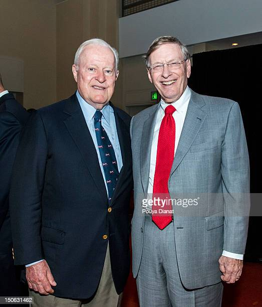 Commissioner Bud Selig and Bill Bartholomay pose for a photo at the 2012 MLB Beacon Awards Luncheon presented by Belk during the Delta Civil Rights...
