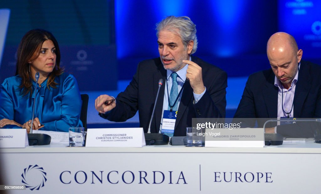 Commissioner Christos Stylianides, European Commission, participates in a discussion during the Concordia Europe Summit on June 6, 2017 in Athens, Greece.