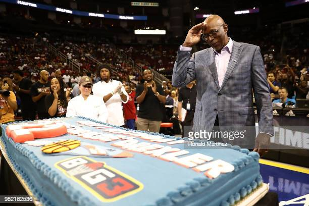 Commissioner Clyde Drexler is presented with a birthday cake during week one of the BIG3 three on three basketball league at Toyota Center on June 22...