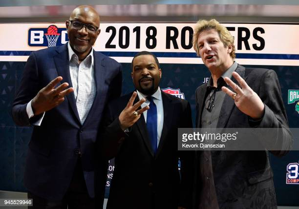 Commissioner Clyde Drexler poses with BIG3 founders Ice Cube and Jeff Kwatinetz after the BIG3 2018 Player Draft at Fox Sports Studio on April 12...