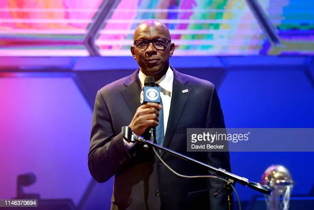 Commissioner Clyde Drexler speaks during the BIG3 Draft at the Luxor Hotel Casino on May 01 2019 in Las Vegas Nevada