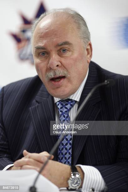 Commissioner David Branch addresses the media prior to the 2009 Subway OHL AllStar Classic on February 4 2009 at the WFCU Centre in Windsor Ontario...