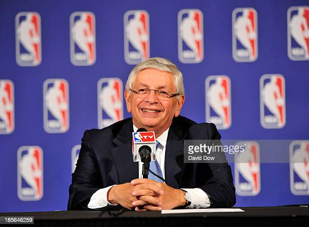 Commissioner David Stern addresses the media after the Board of Governors meetings during a press conference on October 23 2013 at the St Regis Hotel...