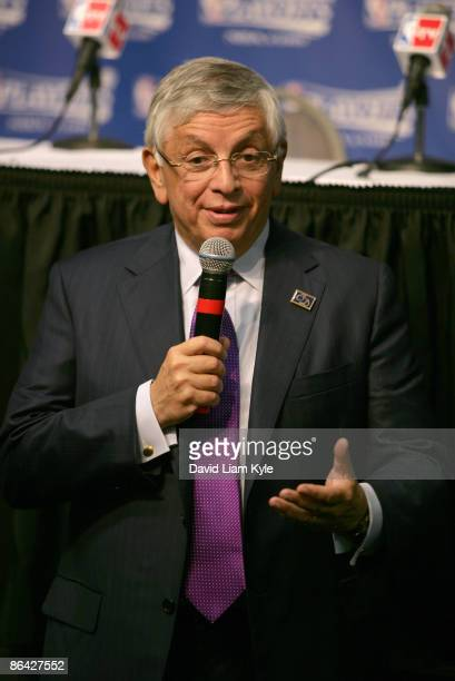 Commissioner David Stern addresses the media before he presents LeBron James of the Cleveland Cavaliers with the trophy for 2008-09 MVP prior to Game...