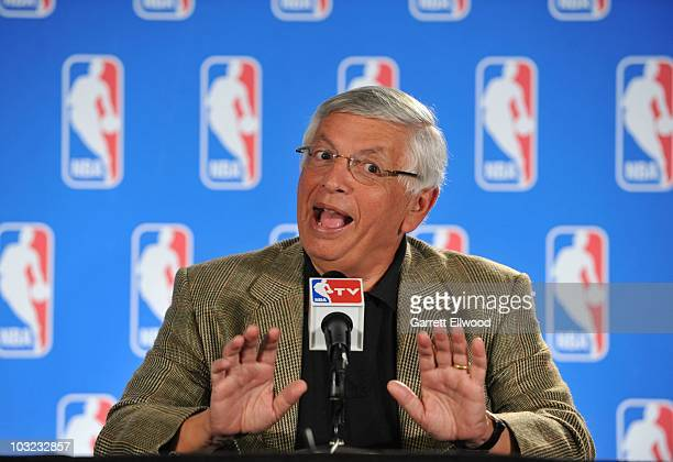 Commissioner David Stern addresses the media during a press conference following the board of governors meetings at NBA Summer League on July 12 2010...