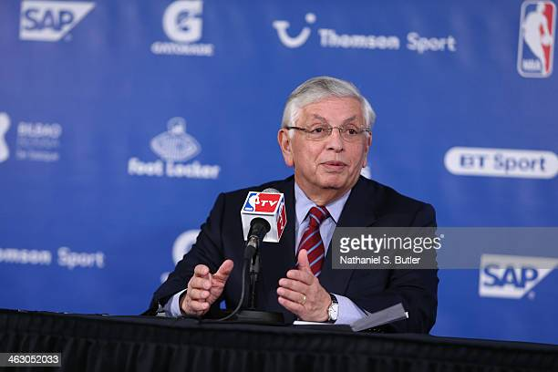 Commissioner David Stern addresses the media prior to the game of the Brooklyn Nets against the Atlanta Hawks as part of the 2014 Global Games on...