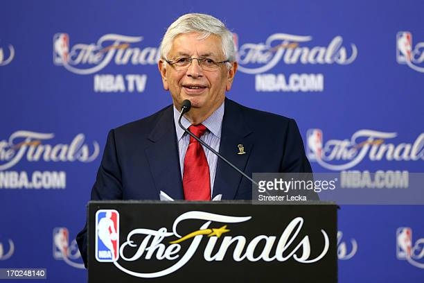 Commissioner David Stern addresses the media to announce that Chauncey Billups of the Los Angeles Clippers is the winner of the Twyman-Stokes...