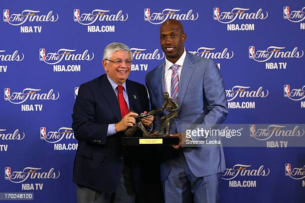 Commissioner David Stern and Chauncey Billups pose after Billups wins the TwymanStokes Teammate of the Year Award in honor of Jack Twyman and Maurice...