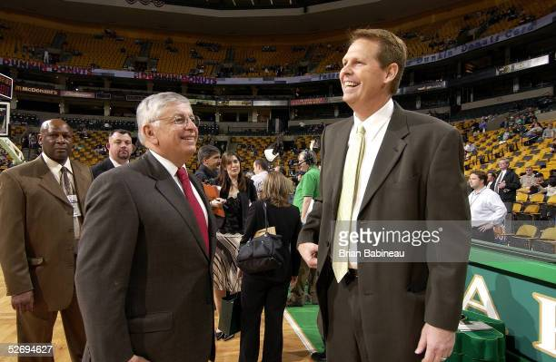 Commissioner David Stern and Danny Ainge, GM of the Boston Celtics, have a conversation on the court before the game between the Indiana Pacers and...