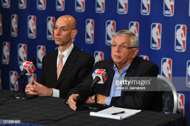 NBA Commissioner David Stern and Deputy Commissioner Adam Silver address the media after NBA labor negotiations at Sheraton New York Hotel Towers on...