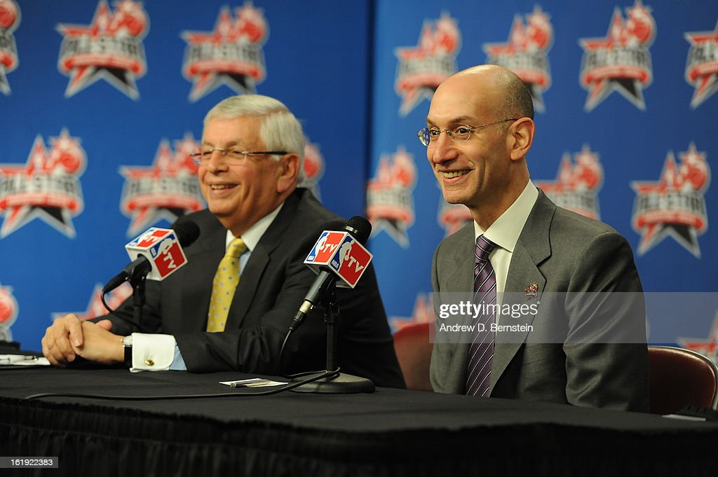 Commissioner David Stern and Deputy Commissioner Adam Silver of the NBA address the media before State Farm All-Star Saturday Night of the 2013 NBA All-Star Weekend on February 16, 2013 at the Toyota Center in Houston, Texas.