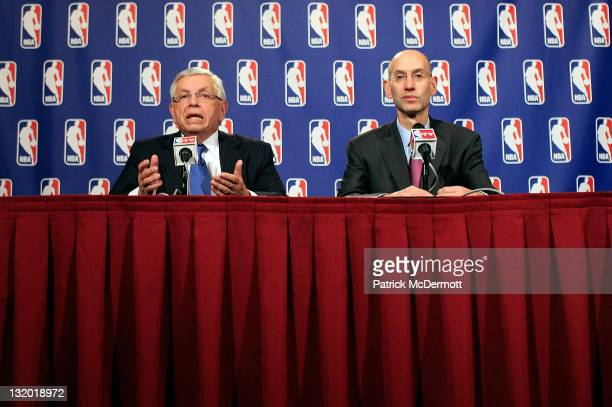 Commissioner David Stern and NBA Deputy Commissioner Adam Silver speak at a press conference after NBA labor negotiations at the New York Helmsley...