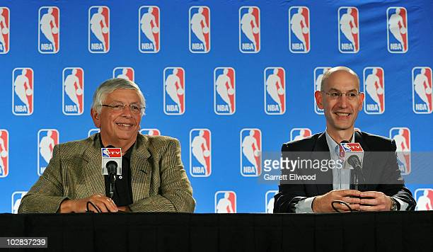 NBA Commissioner David Stern and NBA Deputy Commissioner Adam Silver address the media during a press conference following the board of governors...
