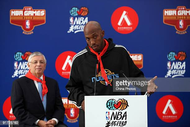 NBA Commissioner David Stern and NBA player Chauncey Billups of the Denver Nuggets attend an NBA Cares event a global outreach initiative for charity...