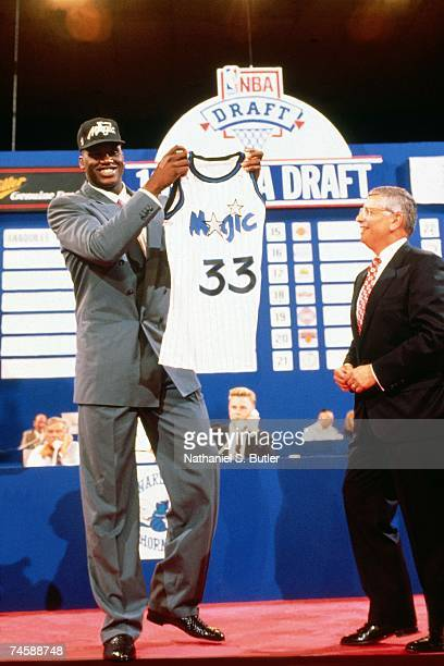 Commissioner David Stern and Orlando Magic first round draft choice Shaquille O'Neal pose for a photo at the 1992 NBA draft in New York New York NOTE...