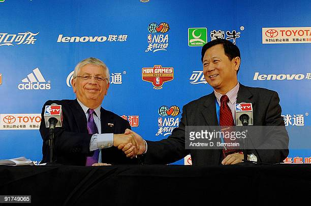 NBA Commissioner David Stern and Vice President of the Chinese Basketball Association Li Jinsheng shake hands during a press conference prior to the...