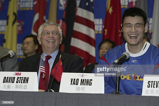 Commissioner David Stern and Yao Ming of the Houston Rockets laugh during a news conference for the NBA China Games, part of the 2004 Jam Session...