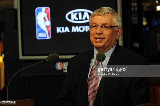 Commissioner David Stern announces a new partnership with Kia at the NBA Store on January 10, 2008 in New York City. NOTE TO USER: User expressly...