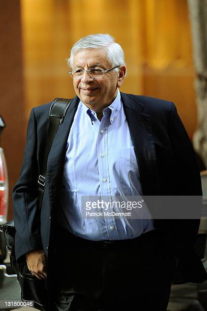 Commissioner David Stern arrives for NBA labor negotiations at Sheraton New York Hotel Towers on November 5 2011 in New York City Players have been...
