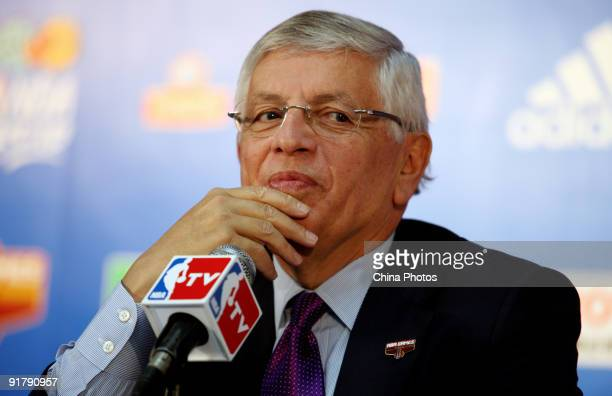 Commissioner David Stern attends a press conference at the Wukesong Arena on October 11, 2009 in Beijing, China. The press conference was held before...