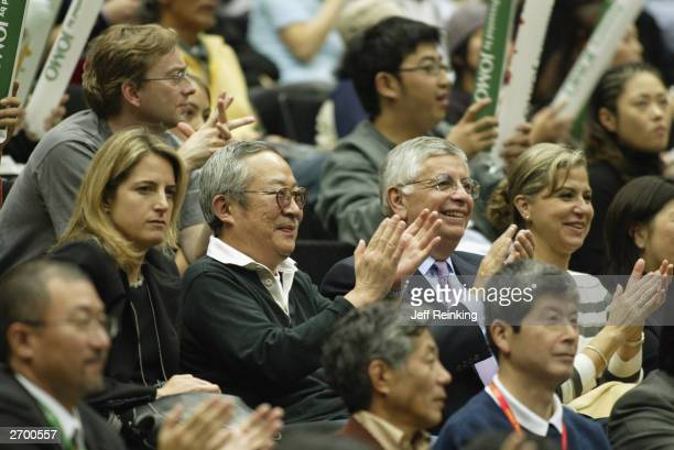 Commissioner David Stern cheers among the fans during the NBA game between the Seattle Sonics and the Los Angeles Clippers at Saitama Arena on...