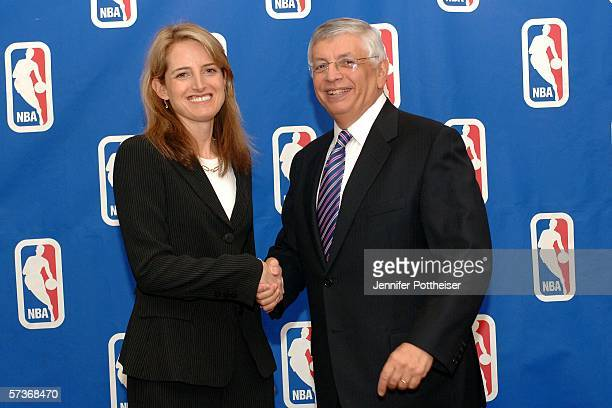 Commissioner David Stern congratulates Heidi Ueberroth who was promoted to President of Global Marketing Partnerships and International Business...