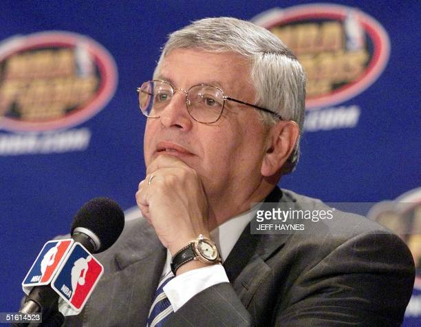 "Commissioner David Stern delivers the ""State of the NBA"" speech 21 June in New York, NY. Stern earlier announced that Hersey Hawkins of the Seattle..."