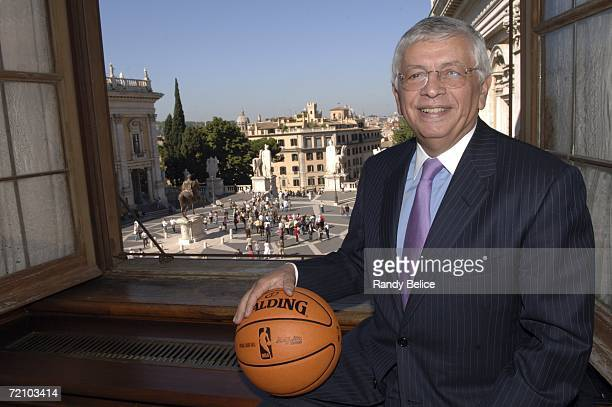 Commissioner David Stern holds the new 2006-07 official NBA game ball during a meeting at Campidoglio as part of the NBA EUROPE LIVE Tour 2006...