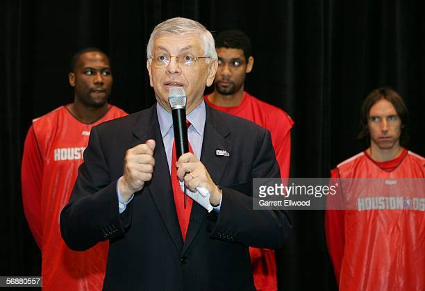 Commissioner David Stern in front of Elton Brand Tim Duncan and Steve Nash during the NBA Europe Live Tour press conference at the 2006 NBA AllStar...