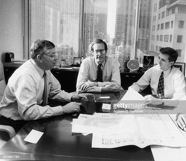 Commissioner David Stern NBA Deputy Commisioner Russ Granik and President NBA Properties Rick Welts talk at the New York Office circa 1988 in New...