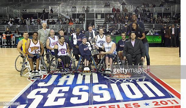 Commissioner David Stern NWBA Commissioner Dick Bryant Katie Smith of the Washington Mystics Candice Wiggins of the Minnesota Lynx Darryl Dawkins NBA...