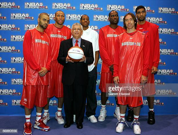 Commissioner David Stern poses for a photo in front of Tony Parker Shawn Marion Andre Iguodala Elton Brand Steve Nash and Tim Duncan during the NBA...