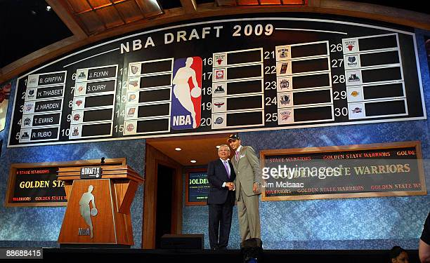 Commissioner David Stern poses for a photograph with the seventh overall draft pick by the Golden State Warriors Stephen Curry during the 2009 NBA...