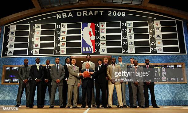 Commissioner David Stern poses for a photograph with the top prospects prior to the 2009 NBA Draft at the Wamu Theatre at Madison Square Garden June...