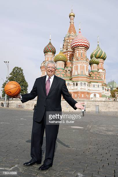Commissioner David Stern poses with a NBA basketball in Red Square on October 7,2006 in Moscow,Russia. NOTE TO USER: User expressly acknowledges and...