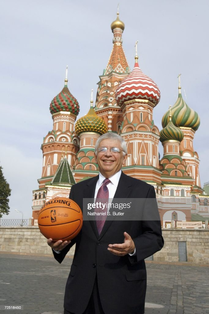 NBA Commissioner David Stern poses with a NBA basketball in the red square on October 7,2006 in Moscow,Russia.